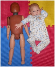 Kieran Lloyd, who at 7 months eagerly provided data on repetitive bouncing motions by playing in a commercial jumping toy.