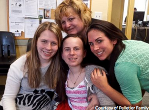 Justina with her mother and two of her three sisters